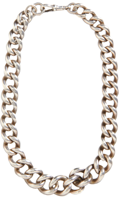 Olivia Collings Antique Jewelry Silver Very Heavy Curb Link Chain Necklace