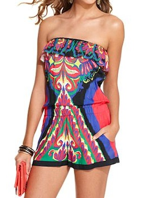Rampage Romper, Strapless Ruffled Tribal Print