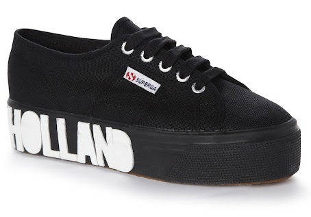 House of Holland x Superga Black and White Foxing Print