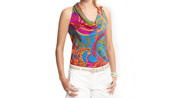 Trina Turk Vibrant Print cowl-neck top