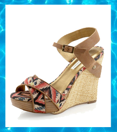 cecfa171c0 Cynthia Vincent Naomi Aztec-Printed Platform Wedge Sandals