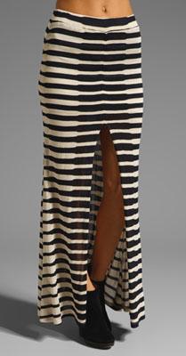 Again Clement Skirt in Navy Cream Stripe