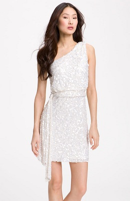 Aidan Mattox Sequin One Shoulder Dress