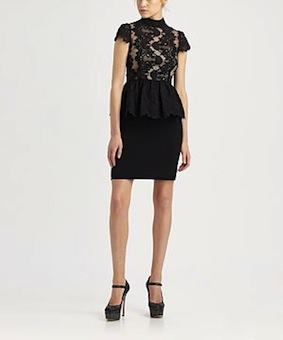 Alice + Olivia - Robyn Lace Peplum Dress