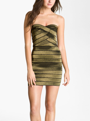 Allen Schwartz Prive Strapless Metallic Bandage Minidress