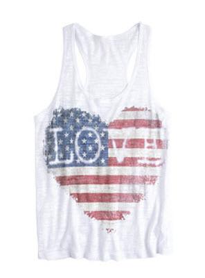 American Flag Heart Tank