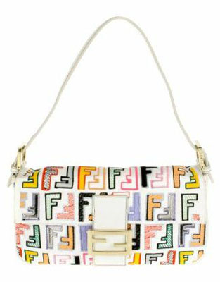 Baguette bag in white leather with multicolored Fendi logos
