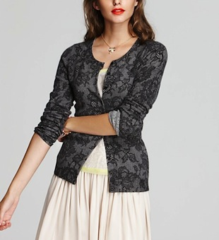 C by Bloomingdale's Cashmere Lace Print Cardigan
