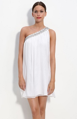 Calvin Klein One Shoulder Chiffon Dress with Rhinestone Trim