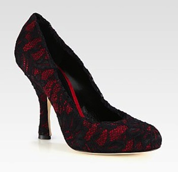 Dolce & Gabbana Suede and Lace Pumps