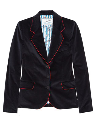 FAITH CONNEXION Annabelle Dexter-Jones contrast-piped velvet blazer