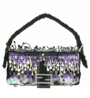 Fleece vintage Baguette bag with embroidered multicolored glitters, feathers and fringes