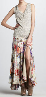 Haute Hippie Sequined Cowl Top & Floral-Print Maxi Skirt