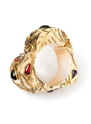Gold-plated leaf-patterned cuff