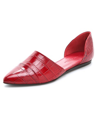 Jenni Kayne Embossed Croc d'Orsay Flats in Cranberry