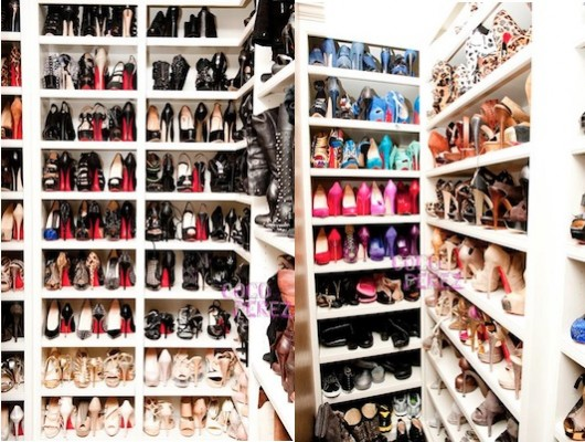 Khloe Kardashians Shoe Closet In Her Los Angeles Home Photographed By Elle