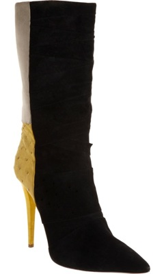 Ostrich Colorblock Pleated Boot