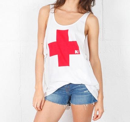 Rebel Yell RY Red Cross Tie Tank