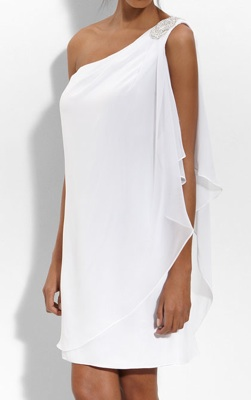 JS Boutique Embellished One Shoulder Chiffon Dress