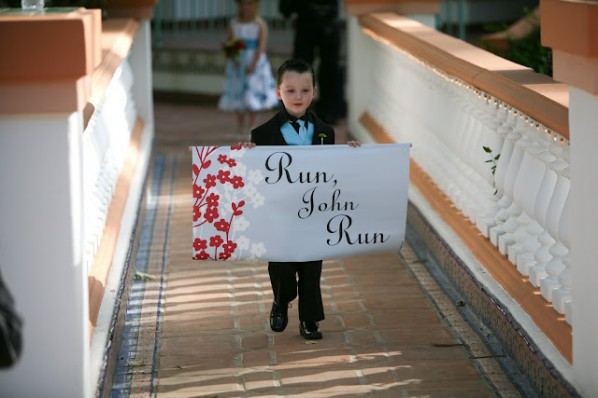 "If you have a sense of humor, have a ring bearer walk down the aisle with a sign that says, ""Run, [Groom's Name], Run!"""