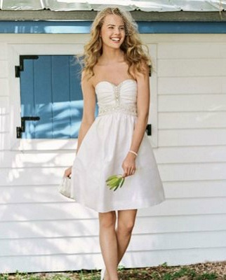 Short Embellished Strapless Dress