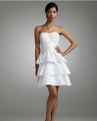 Short Strapless Taffeta Dress with Ruffled Skirt