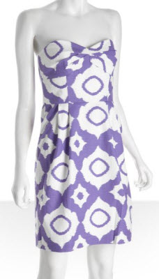 Shoshanna Purple Ikat Reilly Strapless Dress