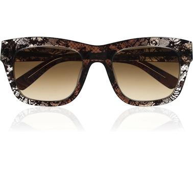 Valentino D-Frame Lace-Print Acetate Sunglasses