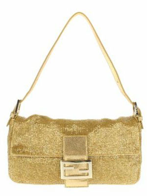 Vintage Baguette bag embellished with golden and silver iridescent beads