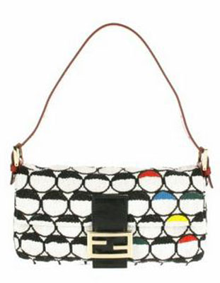 Vintage Baguette bag embellished with multicolor beads for graphic pattern