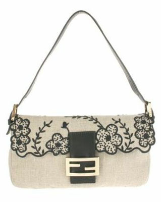 Vintage Baguette bag in beige flax with embroidered black flowers