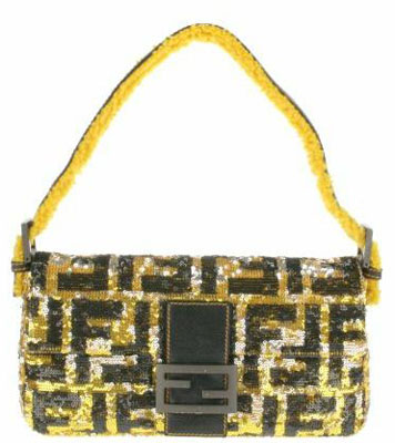 Vintage Baguette bag in canvas embroidered by Fendi glitters