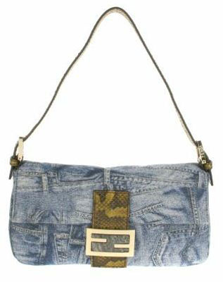 Vintage Baguette bag in denim with embroidered gold threads Crocodile tab
