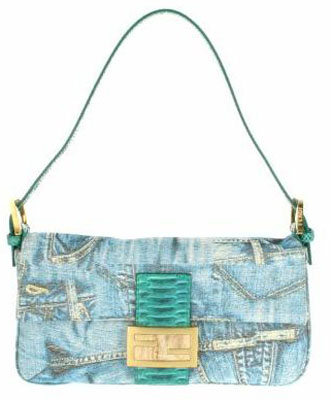 Vintage Baguette bag in denim with embroidered gold threads Green crocodile tab