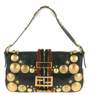 Vintage Baguette bag in leather with embroidered gold metal studs