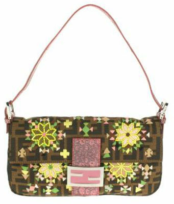 Vintage Baguette bag in monogram canvas with multicolor embroidery and beads embellishment