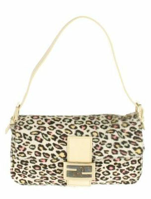 Vintage Baguette bag in multicolored leopard foal. Leather tab