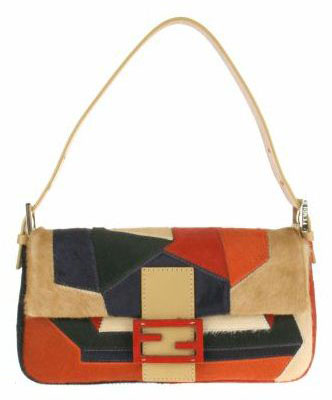Vintage Baguette bag in patchwork of multicolored foal