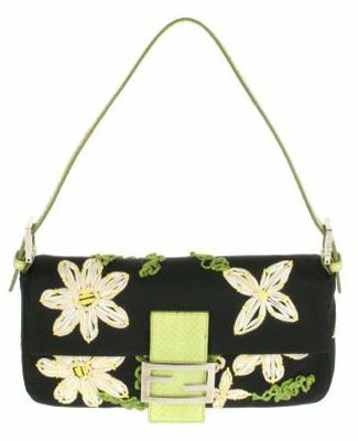 Vintage Baguette bag in satin with embroidered flowers