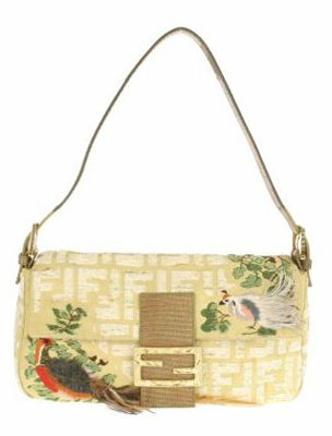 8c686081fb Vintage Baguette bag in silk with Fendi logo
