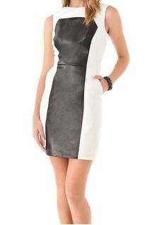 Milly Nina Paneled Leather Dress