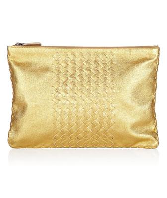 BOTTEGA VENETA Metallic intrecciato leather pouch