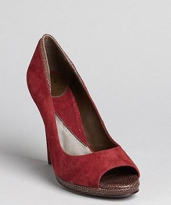 Diane Von Furstenberg Cranberry Suede 'Salem' Peep Toe Pumps