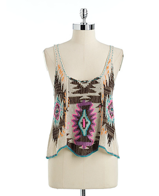 Free People Aztec Embroidered Tank Top