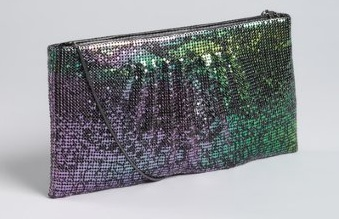 Green And Purple Iridescent Metal Mesh 'Evelyn' Clutch