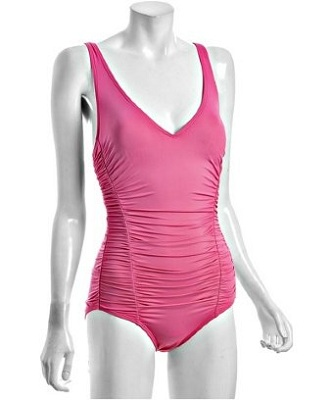 DKNY Hiscus V-Neck Ruched Maillot