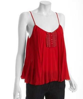 Free People Hot Cherry Crepe Pleated Ribbon Front Cami