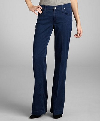Indigo Stretch Denim 'Fly Boy' Flare Leg Trouser Jeans