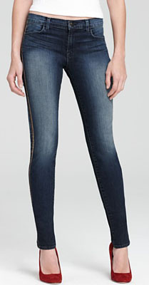 J Brand Jeans - Kacie Mid Rise Skinny in Wicked Wash with Leather Side Seam