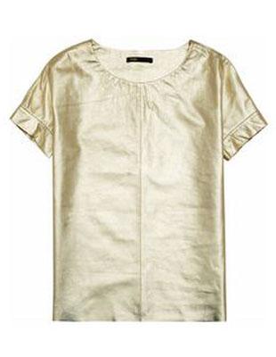 MAJE Suzanne metallic leather T-shirt